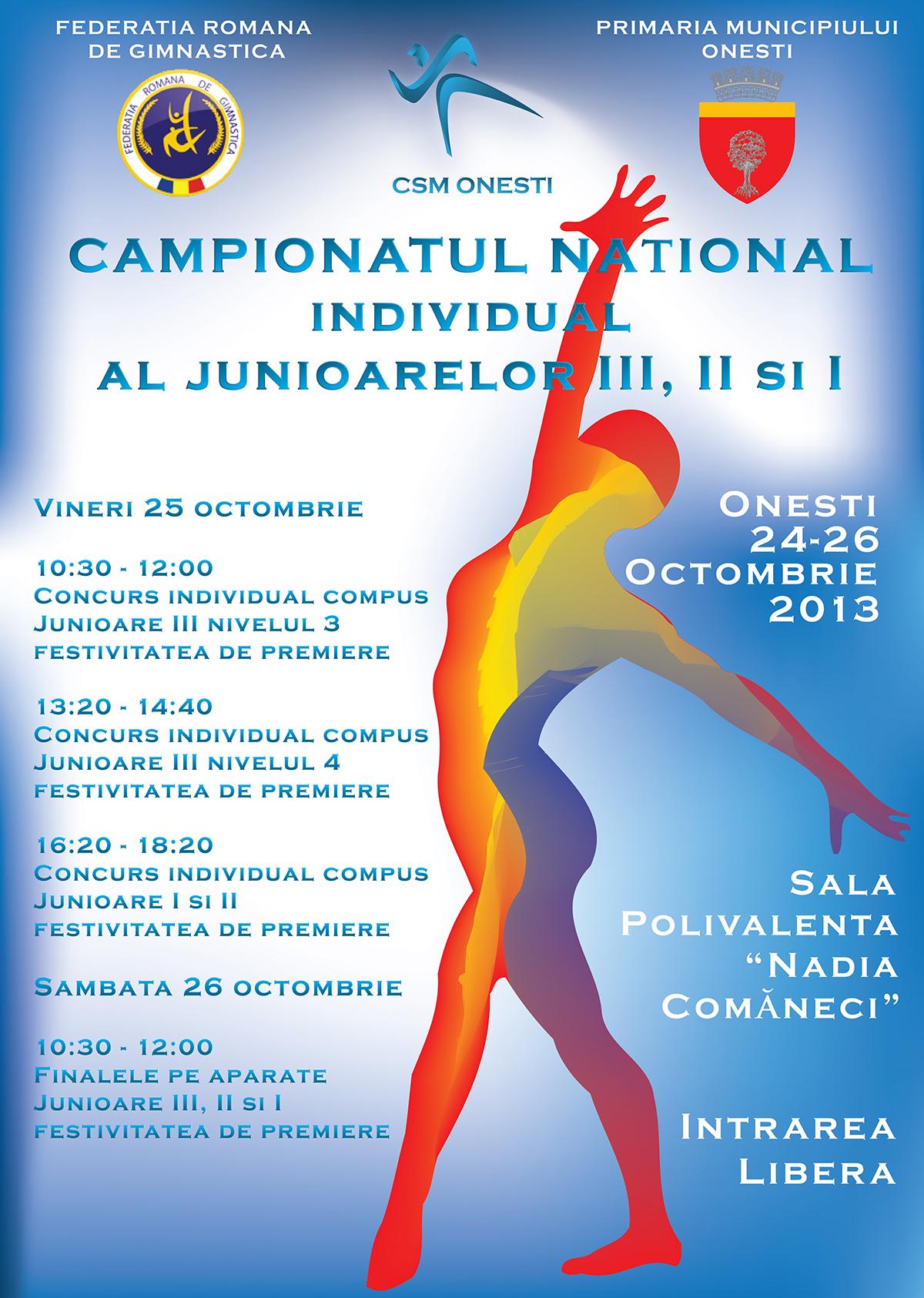 24-26 OCTOMBRIE 2013 – CAMPIONATUL NATIONAL INDIVIDUAL AL JUNIOARELOR III, II SI I