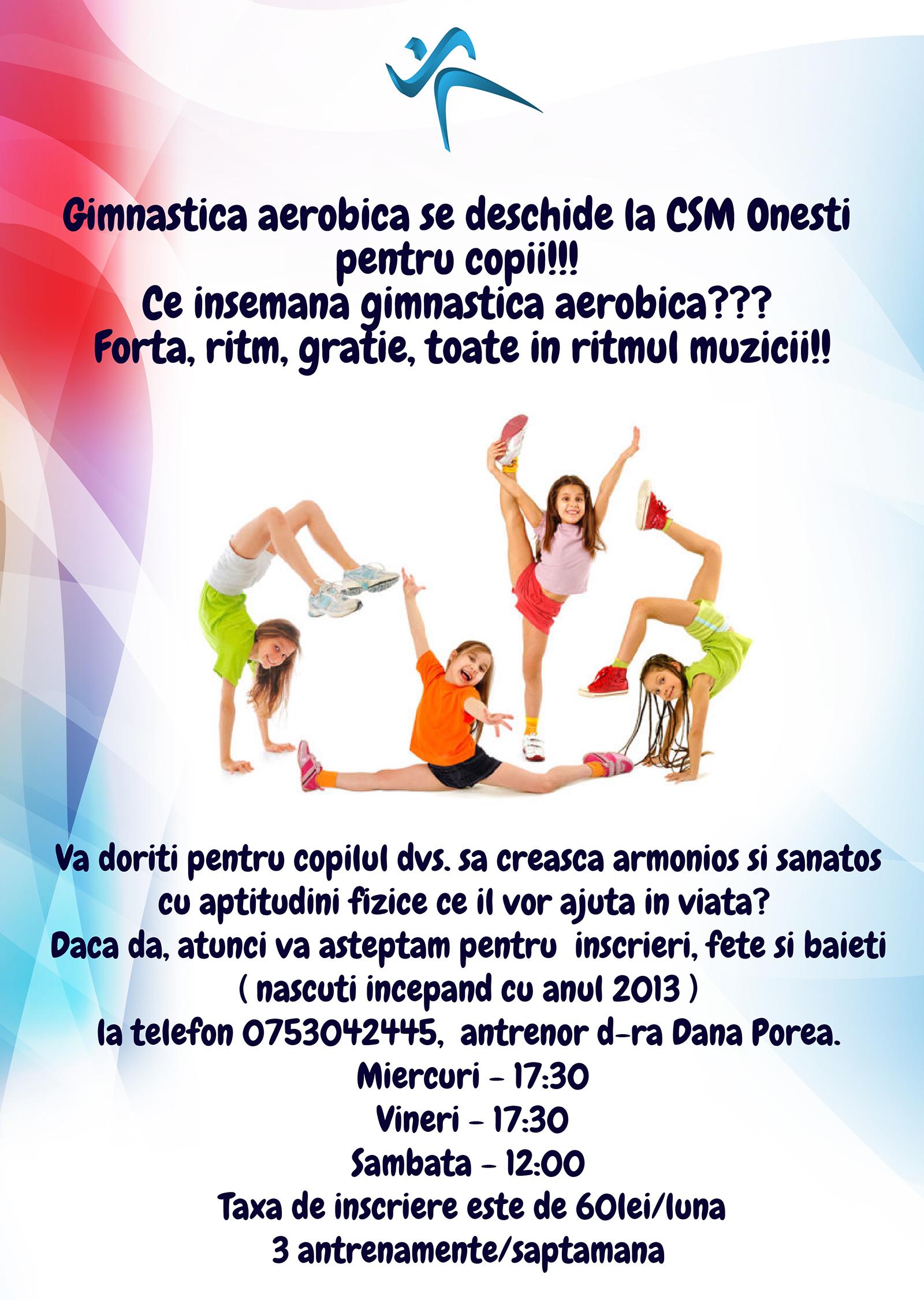 Gimnastica aerobica se deschide la CSM Onesti pentru copii!!!